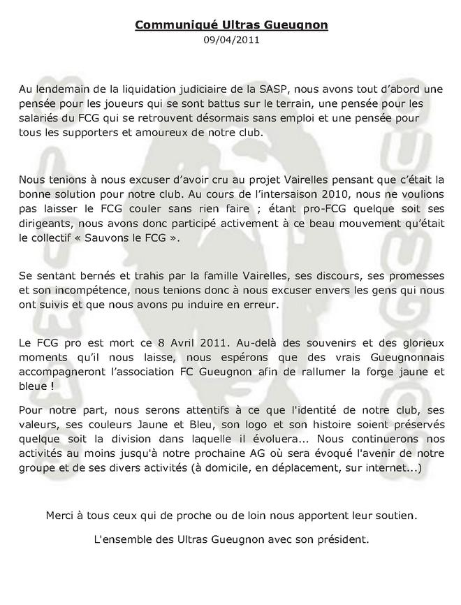 communiquéliquidation FC Gueugnon